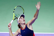 Caroline Wozniacki of Denmark serves in her singles match against Elina Svitolina of the Ukraine during day 5 of the BNP Paribas WTA Finals Singapore presented by SC Global at Singapore Sports Hub on October 25, 2018 in Singapore.