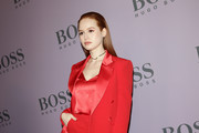 Madelaine Petsch attends the BOSS fashion show during the Milan Fashion Week Fall/Winter 2020 - 2021 on February 23, 2020 in Milan, Italy.