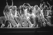 Image has been converted to black and white)  Jade Thirlwall,  Leigh-Anne Pinnock, Jesy Nelson and Perrie Edwards of Little Mix perform during The BRIT Awards 2019 held at The O2 Arena on February 20, 2019 in London, England.