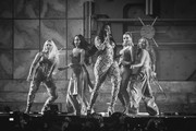 Image has been converted to black and white) (L-R) Jesy Nelson, Leigh-Anne Pinnock, Perrie Edwards and Jade Thirlwall of Little Mix perform with Ms Banks (C) during The BRIT Awards 2019 held at The O2 Arena on February 20, 2019 in London, England.