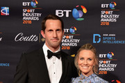 Sir Ben Ainslie and his wife Georgie Ainslie arrives at the red carpet during the BT Sport Industry Awards 2018 at Battersea Evolution on April 26, 2018 in London, England. The BT Sport Industry Awards is the largest commercial sports awards in the world. Bringing together sports stars, celebrities, senior decision makers, influencers and global media, the industry's most anticipated night of the year celebrates the very best work from across the sector.
