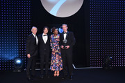 Tony Blair, former British Prime Minister (L) and Denise Lewis (R) present the Social and Sustainable Development Award to 'The Ocean Race' The Power of Sport during the BT Sport Industry Awards 2019 at Battersea Evolution on April 25, 2019 in London, England. The BT Sport Industry Awards is the biggest commercial sports awards in the world and an annual showcase of the best of the sector's creative and commercial output. The event brings together sports stars, celebrities, industry leaders, influencers and media from around the world for what is always a highly anticipated occasion.