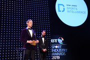 Dan Walker (L) and Gareth Southgate, Manager of England present The Integrity and Impact Award founded by Dow Jones Intelligence during the BT Sport Industry Awards 2019 at Battersea Evolution on April 25, 2019 in London, England. The BT Sport Industry Awards is the biggest commercial sports awards in the world and an annual showcase of the best of the sector's creative and commercial output. The event brings together sports stars, celebrities, industry leaders, influencers and media from around the world for what is always a highly anticipated occasion.