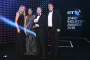 Katie Boulter and Heather Watson present the Data and Insight Award to ICC Cricket World Cup 2019 during the BT Sport Industry Awards 2019 at Battersea Evolution on April 25, 2019 in London, England. The BT Sport Industry Awards is the biggest commercial sports awards in the world and an annual showcase of the best of the sector's creative and commercial output. The event brings together sports stars, celebrities, industry leaders, influencers and media from around the world for what is always a highly anticipated occasion.