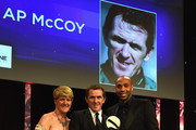 Thierry Henry and Claire Balding present the Outstanding Contribution to Sport, sponsored by CWM Cyclone Promotions to AP McCoy at the BT Sport Industry Awards 2015 at Battersea Evolution on April 30, 2015 in London, England. The BT Sport Industry Awards is the most prestigious commercial sports awards ceremony in Europe, where over 1750 of the industryÂ's key decision-makers mix with high profile sporting celebrities for the most important networking occasion in the sport business calendar.