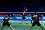 Sung Hyun Ko and Ha Na Kim of Korea in action in the mixed doubles match agianst Joachim Fischer Nielsen and Christinna Pedersen of Denmark during day one of the BWF Dubai World Superseries 2015 Finals at the Hamdan Sports Complex on on December 9, 2015 in Dubai, United Arab Emirates.