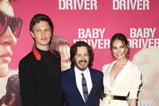 Ansel Elgort, Edgar Wright and Lily James arrives ahead of the Baby Driver Australian Premiere at Event Cinemas George Street on July 12, 2017 in Sydney, Australia.