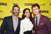 "(L-R) Actors Jon Hamm, Eiza Gonzalez, and Ansel Elgort attend the ""Baby Driver"" premiere 2017 SXSW Conference and Festivals on March 11, 2017 in Austin, Texas."