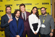 "(L-R) Actors Jon Hamm, director Edgar Wright, actor, Ansel Elgort, actress Eiza Gonzalez, and SXSW Producer and Senior Programmer Jarod Neece attend the ""Baby Driver"" premiere 2017 SXSW Conference and Festivals on March 11, 2017 in Austin, Texas."