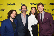 "(L-R) Director Edgar Wright, actors Jon Hamm, Eiza Gonzalez, and Ansel Elgort attend the ""Baby Driver"" premiere 2017 SXSW Conference and Festivals on March 11, 2017 in Austin, Texas."