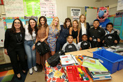 (L-R) President of Business Operations, L.A. Clippers Gillian Zucker, Sophia Rossi, Norah Weinstein, Busy Philipps, Zooey Deschanel, Nicole Richie, and Kelly Sawyer Patricof  celebrate donation of One Million backpacks from Baby2Baby, Kawhi Leonard and the L.A. Clippers to students across Los Angeles at 107th Street Elementary on August 20, 2019 in Los Angeles, California.