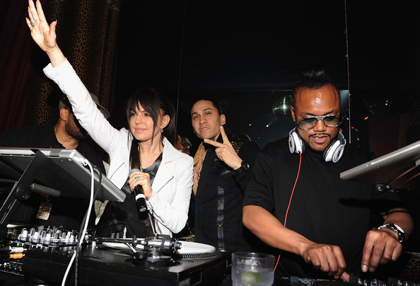 Fergie, Taboo and apl.de.ap of the Black Eyed Peas perform during the Bacardi VIP Room For The Black Eyed Peas After Party at M2 Ultra Lounge on February 24, 2010 in New York, New York.