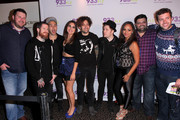 (L-R) Kane of The Kane Show, Andy Hurley, Pete Wentz, Rose of The Kane Show, Joe Trohman and Patrick Stump of Fall Out Boy, Danni Starr, Erick, and Intern John of The Kane Show attend 93.3 FLZÂ's Jingle Ball 2014 at Amalie Arena on December 22, 2014 in Tampa, Florida.