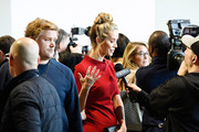 Olivia Jordan is interviewed at Badgley Mischka during New York Fashion Week: The Shows at Gallery I at Spring Studios on February 13, 2018 in New York City.