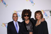 Bahamas Minister of Tourism Dionisio D?Aguilar, Lenny Kravitz and Joy Jibrilu arrive at The Bahamas x Lenny Kravitz Fly Away Campaign Launch on February 7, 2019 in New York City.