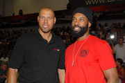 Coach Tracy Murray and Baron Davis (R) at the Ball Up Championship Game at Cal State Northridge on June 24, 2011 in Northridge, California.