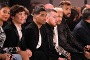 (L-R) Ross Lynch, Jaz Sinclair, Rome Flynn, guest, Neymar and Eric Choupo-Moting attends the Balmain Menswear Fall/Winter 2020-2021 show as part of Paris Fashion Week on January 17, 2020 in Paris, France.