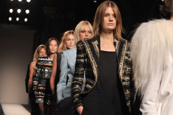 Models walk the runway during the Balmain Ready to Wear Autumn/Winter 2011/2012 show during Paris Fashion Week at Le Grand Hotel on March 3, 2011 in Paris, France.