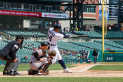 Miguel Cabrera #24 of the Detroit Tigers hits a solo home run in the sixth inning against the Baltimore Orioles ring a MLB game at Comerica Park on April 18, 2018 in Detroit, Michigan. The Tigers defeated the Orioles  6-2.
