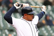Miguel Cabrera #24 of the Detroit Tigers waits to bat in the first inning while playing the Baltimore Orioles at Comerica Park on April 17, 2018 in Detroit, Michigan.