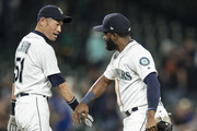 Ichiro Suzuki #51 of the Seattle Mariners an dDenard Span #4 of the Seattle Mariners celebrate after a game against the Baltimore Orioles at Safeco Field on September 5, 2018 in Seattle, Washington. The Mariners game 5-3.