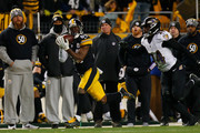 Antonio Brown #84 of the Pittsburgh Steelers makes a catch in front of Brandon Carr #24 of the Baltimore Ravens in the fourth quarter during the game at Heinz Field on December 10, 2017 in Pittsburgh, Pennsylvania.