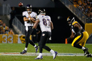 Joe Flacco #5 of the Baltimore Ravens attempts a pass to Maxx Williams #87 in the second half during the game against the Pittsburgh Steelers at Heinz Field on September 30, 2018 in Pittsburgh, Pennsylvania.