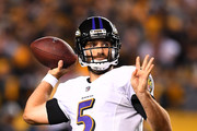 Joe Flacco #5 of the Baltimore Ravens drops back to pass in the second half during the game against the Pittsburgh Steelers at Heinz Field on September 30, 2018 in Pittsburgh, Pennsylvania.