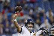 Joe Flacco #5 of the Baltimore Ravens throws a pass against the Tennessee Titans during the fourth quarter at Nissan Stadium on October 14, 2018 in Nashville, Tennessee.