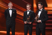 Bastian Schweinsteiger, Philipp Lahm and Miroslav Klose are seen on stage during the Bambi Awards 2014 show on November 13, 2014 in Berlin, Germany.