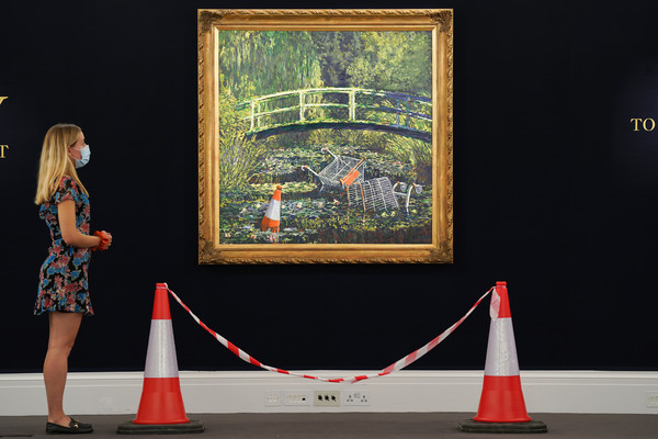 Banksy's 'Show Me The Monet' To Star In Sotheby's 'Modernites/Contemporary' Evening Sale Series [show me the monet to star in sothebys,art,art,red,tree,design,architecture,carpet,picture frame,plant,art,interior design,house,banksy,estimate,red,design,sothebys,modernites/contemporary evening sale series,evening auction,modern art,art,claude monet,banksy]