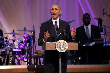 Barack Obama President Obama and First Lady Michelle Obama Speak at a BET Event at The White House