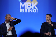 Former U.S. President Barack Obama (L) and Golden State Warriors player Stephen Curry speak in conversation during the MBK Rising! My Brother's Keeper Alliance Summit on February 19, 2019 in Oakland, California. MBK Rising! is bringing together hundreds of young men of color, local leaders and organizations that are working to reduce youth violence, create impactful mentorship programs, and improving life for young men of color. The My Brother's Keeper initiative was started by President Barack Obama following the death of Trayvon Martin.