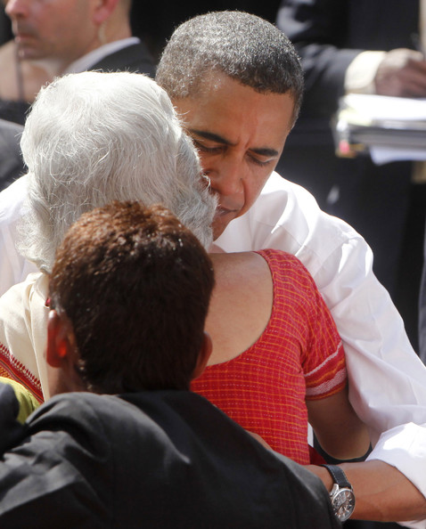 Barack Obama US President Barack Obama hugs a woman after he addressed Indian students at St. Xavier's College on November 7, 2010 in Mumbai, India. The US President and the First Lady is on a ten day Asia tour with stops in India as well as Indonesia, South Korea and Japan.