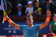 Rafael Nadal of Spain celebrates defeating Leonardo Mayer of the Argentina during the round of 32 match on day two of the Barcelona Open Banc Sabadell at Real Club De Tenis Barcelona on April 24, 2019 in Barcelona, Spain.