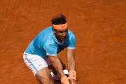 Rafael Nadal of Spain plays a backhand against Leonardo Mayer of the Argentina during the round of 32 match on day two of the Barcelona Open Banc Sabadell at Real Club De Tenis Barcelona on April 24, 2019 in Barcelona, Spain.