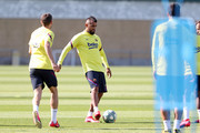 Arturo Vidal of FC Barcelona plays the ball during a training session at Ciutat Esportiva Joan Gamper on May 22, 2020 in Barcelona, Spain. Spanish LaLiga clubs are back training in groups of up to 10 players following the LaLiga's 'Return to Training' protocols.