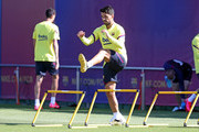 Luis Suarez of FC Barcelona works during a training session at Ciutat Esportiva Joan Gamper on May 19, 2020 in Barcelona, Spain. Spanish LaLiga clubs are back training in groups of up to 10 players following the LaLiga's 'Return to Training' protocols.