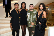 (L-R) Sharam Diniz,  Eli Mizrahi, and Shanina Shaik attend as Barneys New York celebrates its new downtown flagship in New York City on March 17, 2016 in New York City.