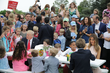 Barron Trump Donald Trump And Melania Trump Host White House Easter Egg Roll