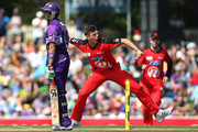 James Pattinson of the Renegades celebrates taking the wicket of Shoaib Malik of the Hurricanes during the Big Bash League match between the Hobart Hurricanes and the Melbourne Renegades at Blundstone Arena on January 1, 2014 in Hobart, Australia.