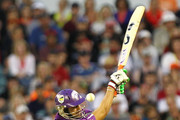 Shoaib Malik of the Hobart Hurricanes swings and misses the ball during the Big Bash League match between the Perth Scorchers and the Hobart Hurricanes at WACA on January 7, 2014 in Perth, Australia.