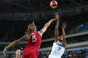 Sandrine Gruda #7 of France shoots against Brittney Griner #15 of United States during a Women's Semifinal Basketball game between the United States and France on Day 13 of the Rio 2016 Olympic Games at Carioca Arena 1 on August 18, 2016 in Rio de Janeiro, Brazil.