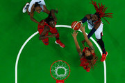 Isabelle Yacoubou #4 of France shoots against Brittney Griner #15 of United States during a Women's Semifinal Basketball game between the United States and France on Day 13 of the Rio 2016 Olympic Games at Carioca Arena 1 on August 18, 2016 in Rio de Janeiro, Brazil.