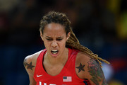 Brittney Griner #15 of United States reacts at the Carioca Arena on Day 13 of the 2016 Rio Olympic Games on August 18, 2016 in Rio de Janeiro, Brazil.