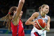 Marine Johannes #17 of France moves the ball against Brittney Griner #15 of United States during a Women's Semifinal Basketball game between the United States and France on Day 13 of the Rio 2016 Olympic Games at Carioca Arena 1 on August 18, 2016 in Rio de Janeiro, Brazil.