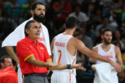 Head coach Sergio Scariolo of Spain reacts from the sideline alongside Nikola Mirotic #44, Juan-Carlos Navarro #7 and Rudy Fernandez #5 of Spain during the Men's Semifinal match against United States on Day 14 of the Rio 2016 Olympic Games at Carioca Arena 1 on August 19, 2016 in Rio de Janeiro, Brazil.