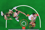 Pau Gasol #4 of Spain blocks the shot attempt by Jonas Valanciunas #17 of Lithuania during the Men's Preliminary Round Group B between Spain and Lithuania on Day 8 of the Rio 2016 Olympic Games at Carioca Arena 1 on August 13, 2016 in Rio de Janeiro, Brazil.