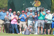 Entertainer Mark Wahlberg hits from the sand on the ninth hole of the second round of the PGA TOUR Champions Bass Pro Shops Legends of Golf at Big Cedar Lodge on April 27, 2019 in Ridgedale, Missouri.