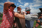 Entertainers Kid Rock, Larry the Cable Guy and Mark Wahlberg take a selfie during the second round of the PGA TOUR Champions Bass Pro Shops Legends of Golf at Big Cedar Lodge on April 27, 2019 in Ridgedale, Missouri.